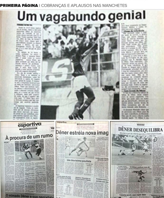 Mosaico Dener jornais (Foto: Editoria de Arte)