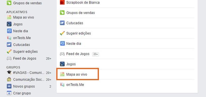 Clique em Mapa ao Vivo no Facebook (Foto: Reprodução/Barbara Mannara)