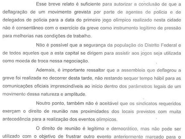 Trecho de decisão do Tribunal de Justiça do Distrito Federal proibindo policiais civis de Brasília de fazerem greve durante a Olimpíada (Foto: Reprodução)