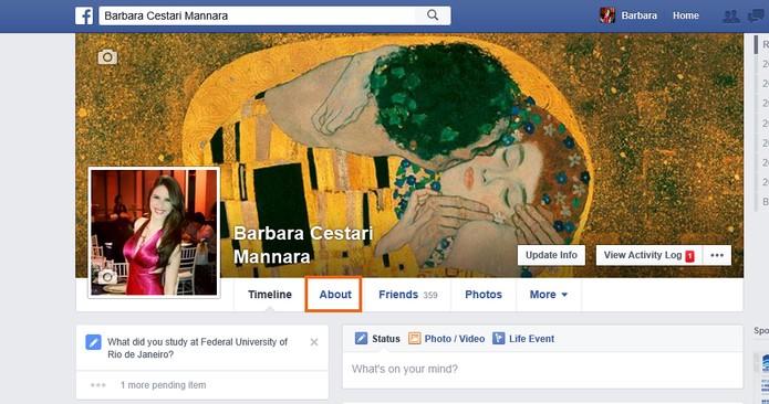Acesse About com mais informações do perfil no Facebook (Foto: Reprodução/Barbara Mannara)