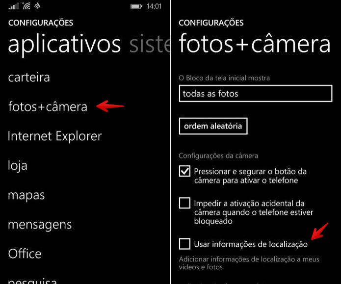 Desativando o acesso da câmera à localização do usuário (Foto: Reprodução/Helito Bijora)