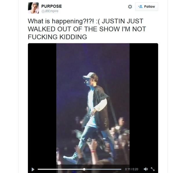 Justin Bieber se irrita com fãs e vai embora de show na Noruega (Foto: Reprodução / Instagram)