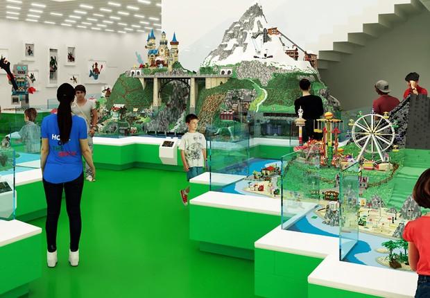 Zona verde, que irá estimular habilidades sociais, na Lego House (Foto: Divulgação)