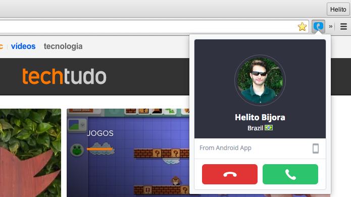 Recebendo uma chamada no navegador (Foto: Reprodução/Helito Bijora)