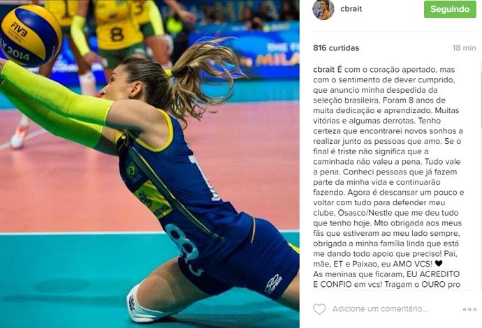 Camila Brait anuncia que se aposenta da seleção (Foto: Reprodução/Instagram)
