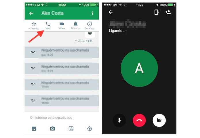 Iniciando uma chamada de voz no Google Hangouts para iPhone (Foto: Reprodução/Marvin Costa)