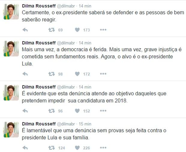 A ex-presidente Dilma Rousseff comentou denúncia contra Lula no Twitter (Foto: Reprodução/Twitter)