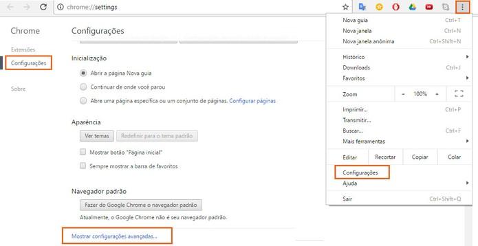 Acesse as configurações avançadas do Google Chrome (Foto: Reprodução/Barbara Mannara)