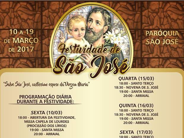Paróquia de São José divulgou programação da festividade (Foto: Divulgação / Paróquia de São José)