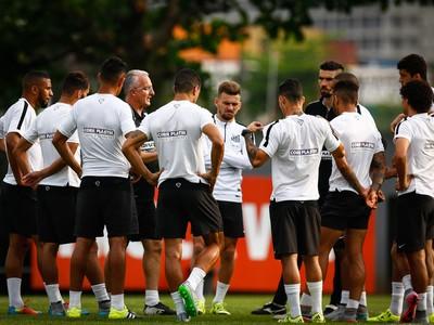 Dorival Júnior, técnico do Santos, orienta o time em treino (Foto: Ricardo Saibun / Divulgação SantosFC)