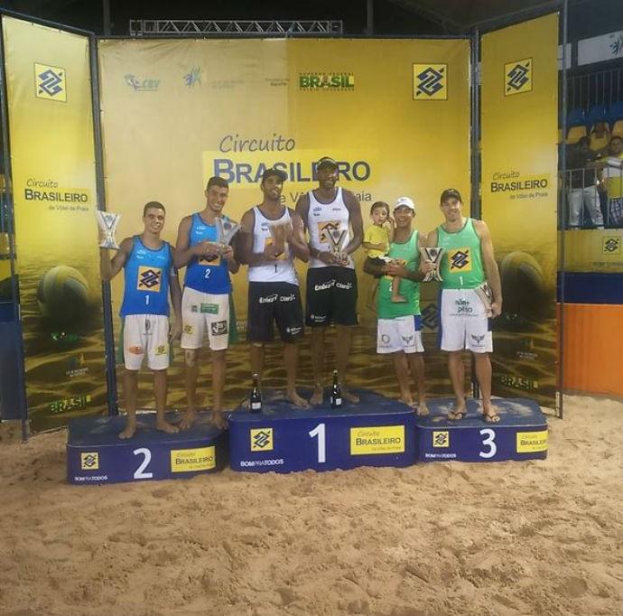 Evandro e Pedro Solberg ficaram com o primeiro lugar na etapa de Goiânia (Foto: Alexandre Arruda/CBV)