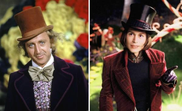 Gene Wilder e Johnny Depp no papel de Willy Wonka (Foto: Reprodução)