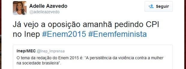 Enem 2015 - tema de redação leva a debate e polêmicas no Twitter (Foto: Reprodução/Twitter)