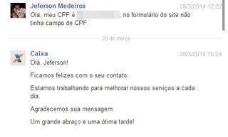 Facebook da Caixa recebeu mensagem e solicitou CPF de Medeiros, mas não houve prosseguimento do contato (Foto: Reprodução)