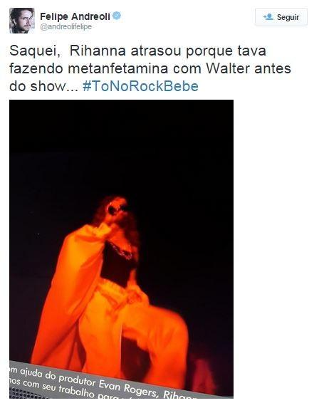 Meme sobre a roupa de Rihanna no Rock in Rio (Foto: Reprodução / Twitter)