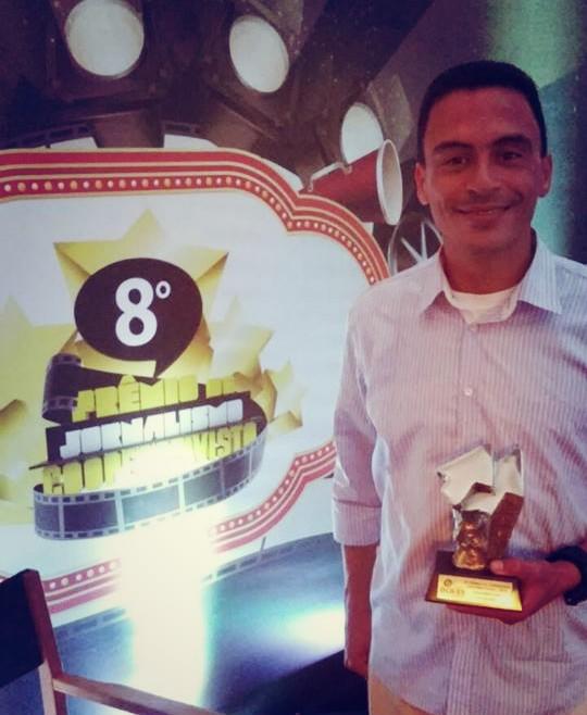 O repórter Falcão ganhou 1º lugar em Radiojornalismo (Foto: Arquivo Pessoal)