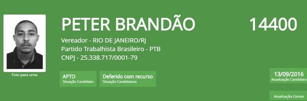 Peter Brandão (Foto: Reprodução/TSE)