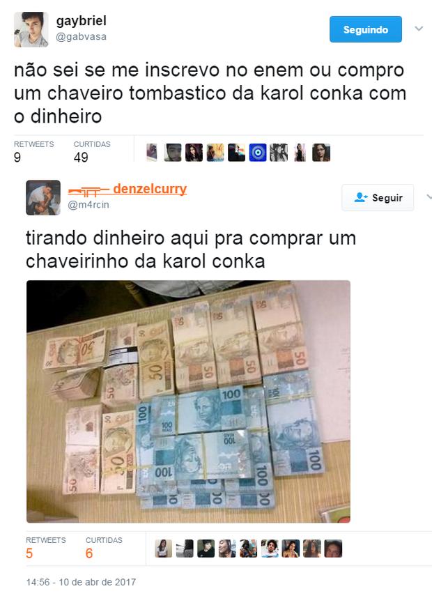 Memes sobre os preços da coleção de Karol Conka (Foto: Reprodução/Twitter)