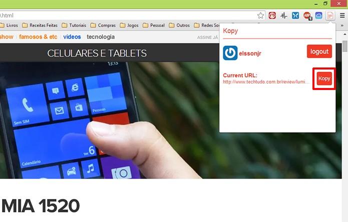 Clique sobre botão Kopy para que o link da sua página seja enviado para o Windows Phone (Foto: Reprodução/Elson de Souza)