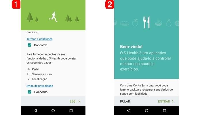 Telas iniciais do app S Health, da Samsung (Foto: Reprodução/Raquel Freire)