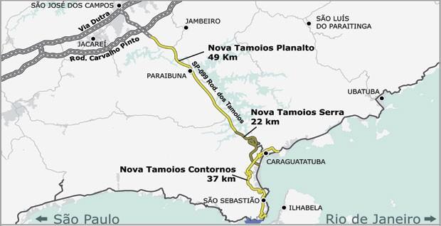 Arte do traçado Do novo trecho de serra da Tamoios que terá menos curva e vários túneis; obras devem começar ainda este ano.  (Foto: Divulgação/DERSA)