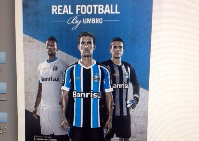 Vaza na internet suposta nova camisa do Grêmio  (Foto: Reprodução )