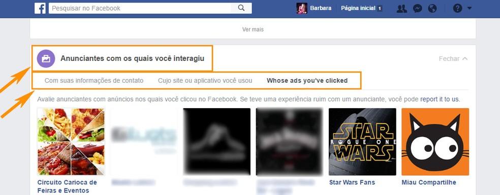 Veja os anunciantes com os quais você já interagiu no Facebook (Foto: Foto: Reprodução/Barbara Mannara)
