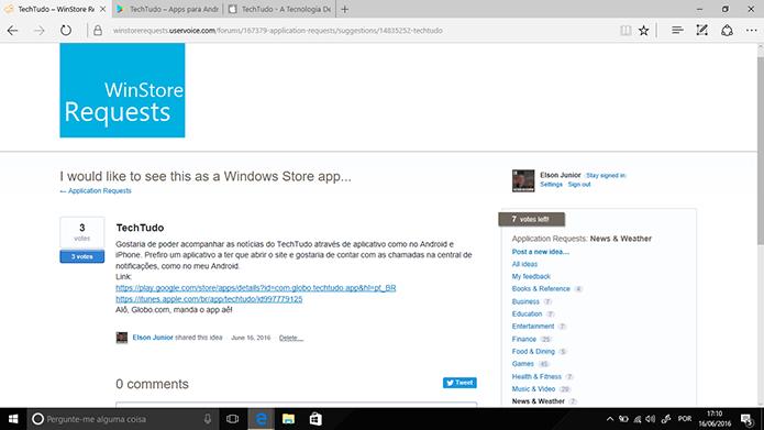 Solicitação de app para Windows 10 aparecerá na página ao fim da solicitação (Foto: Reprodução/Elson de Souza)