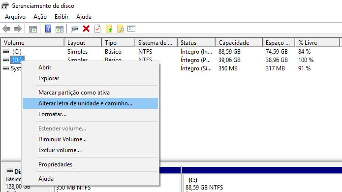 Alterando letra da unidade do PC (Foto: Reprodução/Helito Bijora)
