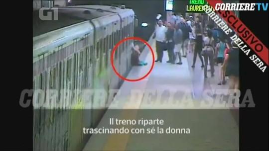 Mulher é arrastada ao ficar com bolsa presa na porta de metrô em Roma; veja vídeo