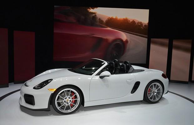 Porsche Boxster Spyder no Salão de Nova York 2015 (Foto: Newspress)