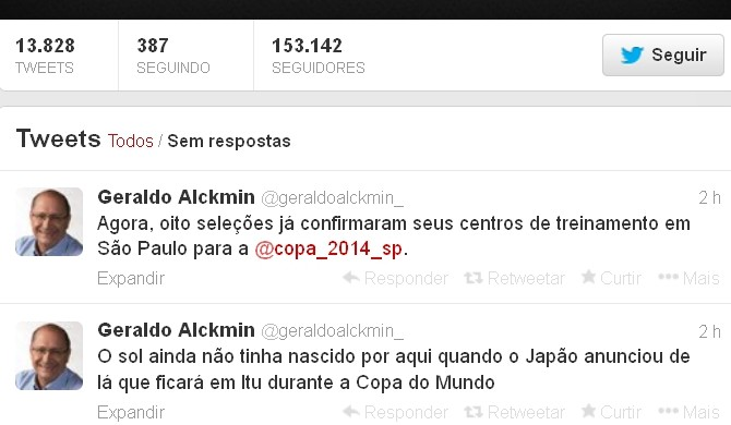 Geraldo alckimin confirma Itu como sede de treinamentos da seleção japonesa (Foto: Reprodução/ Twitter)