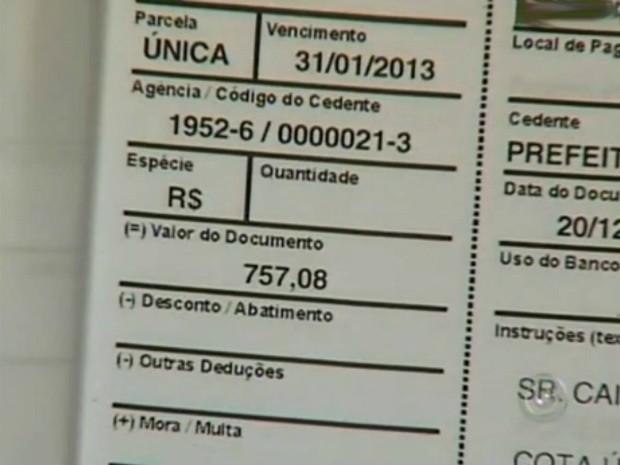 IPTU de uma área no Recanto das Primaveras passou de R$ 360,89 para R$ 757,08. (Foto: Reprodução TV Tem)