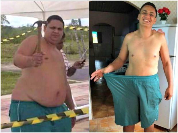 À esquerda, Netão com 170 quilos, e à direita com 108 após a transformação (Foto: Francisco Neteo/Arquivo Pessoal)