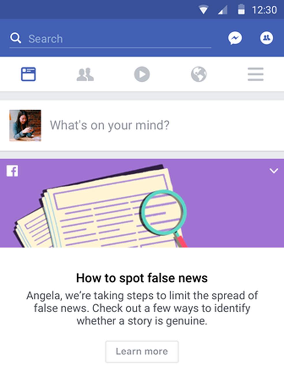 Facebook vai orientar usuários a como identificar notícias falsas. (Foto: Divulgação/Facebook)