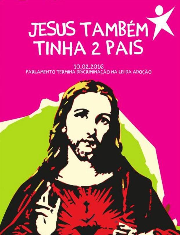 Cartaz foi criado para celebrar lei que permite adoção por homossexuais  (Foto: Reprodução)