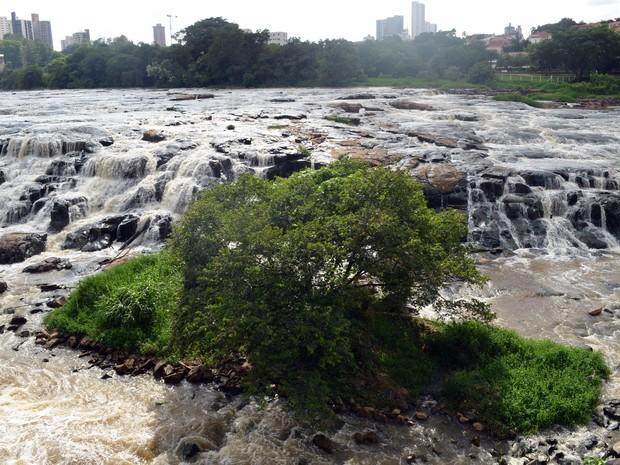 No dia 1º de fevereiro deste ano, Pedras estavam aparentes no Rio Piracicaba (Foto: Claudia Assencio/G1)