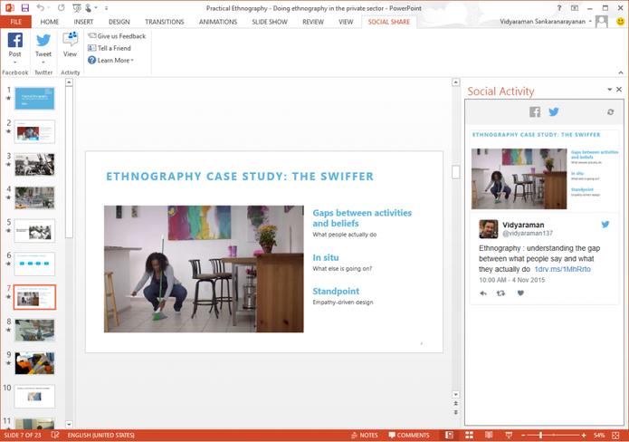 Social Share permite compartilhar apresentações do PowerPoint no Facebook e Twitter (Foto: Divulgação/Microsoft)