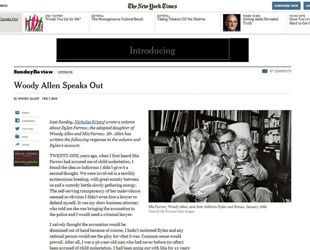 Woody Allen responde acusações da filha adotiva sobre abuso sexual. (Foto: Reprodução/Site 'The New York Times')