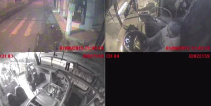 Imagens das câmeras do ônibus onde o jogador do Tritões foi baleado (Foto: Reprodução)