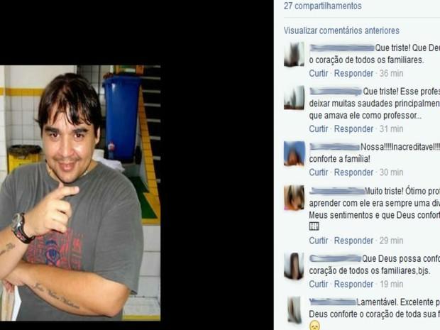 Alunos lamentam a morte do professor nas redes sociais (Foto: Reprodução / Facebook)