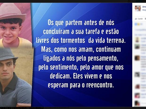 André Lucas, irmão de Nizo Neto, postou uma imagem de pesar pelo falecimento de Rian Brito (Foto: Reprodução/ Facebook)