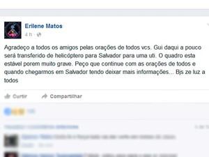 Postagem da mãe do garoto que foi picado por uma cobra na Chapada Diamantina (Foto: Reprodução/ Facebook)