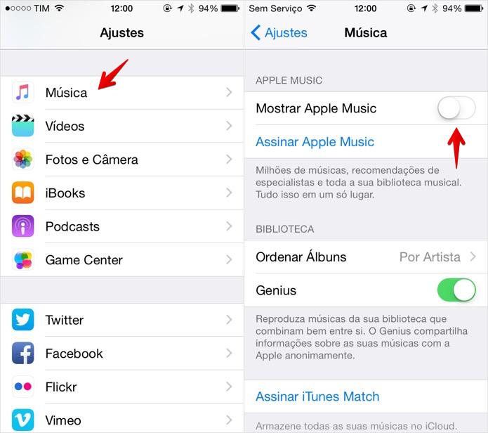 Desativando o Apple Music no iOS (Foto: Reprodução/Helito Bijora)