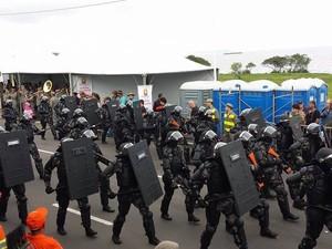 Companhia de choque do BOE desfilou no feriado de 20 de setembro em Porto Alegre (Foto: Divulgação/Brigada Militar)