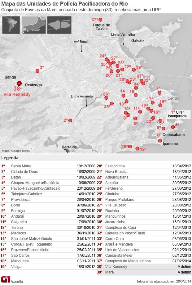 mapa arte UPPs maré 39 (Foto: Editoria de Arte / G1)