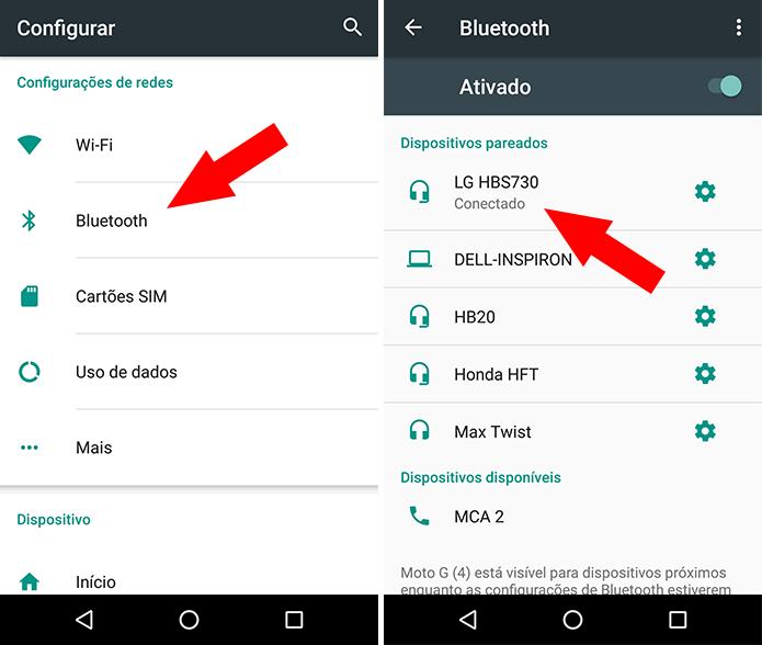 Conecte o Moto G 4 Plus ao fone de ouvido Bluetooth (Foto: Reprodução/Paulo Alves)