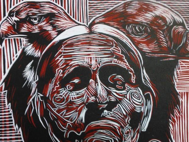 """""""Abuelaaguita"""", obra de XolotlTorrenteta (Foto: Wayner Tristão/Arquivo pessoal)"""