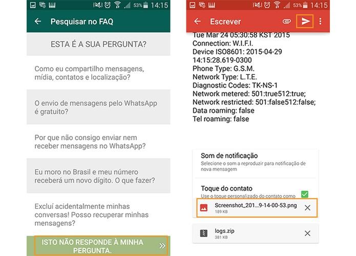Envie o e-mail já moldado do WhatsApp para os desenvolvedores (Foto: Reprodução/Barbara Mannara)