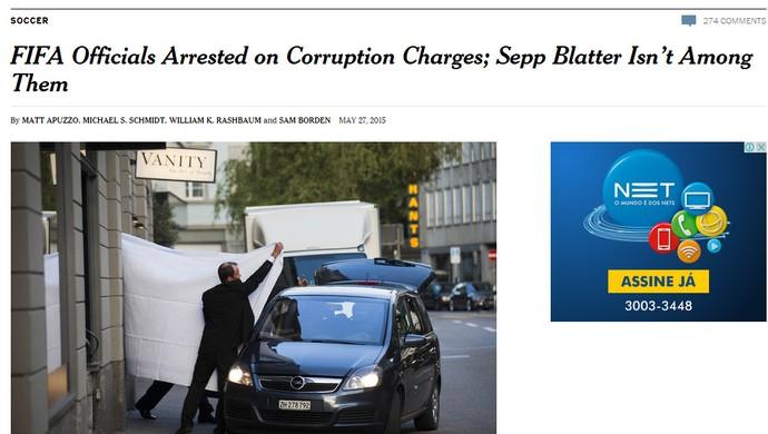 Reprodução Jornal The New York TImes EUA escândalo FIFA (Foto: Editoria de Arte)